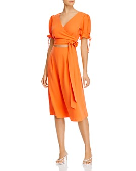 AQUA - Puff-Sleeve Cutout Midi Dress