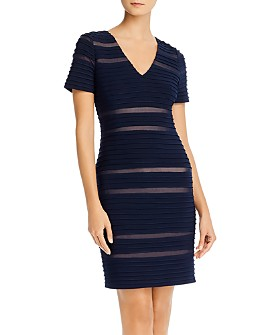 Adrianna Papell - Pintucked Spliced Sheath Dress