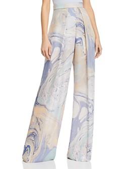 Cushnie - Marble Print Semi-Sheer Wide-Leg Pants