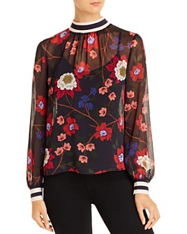 FRENCH CONNECTION - Eloise Floral-Print Sheer Top