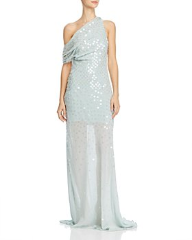 Cushnie - One-Shoulder Sheer Gown with Iridescent Paillettes