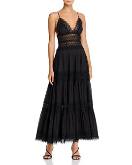 Charo Ruiz Ibiza - Cindy Crochet-Inset Plunging Maxi Dress