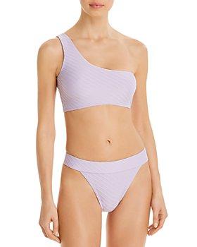 Charlie Holiday - Tide One-Shoulder Bikini Top & Bamba Textured Swim Bottom