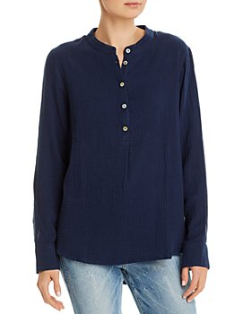 Three Dots - Cotton High/Low Henley Top