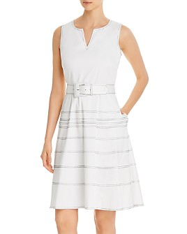KARL LAGERFELD PARIS - Striped & Belted Dress