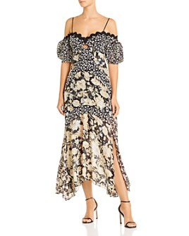Rebecca Taylor - Off-The-Shoulder Mixed-Print Midi Dress