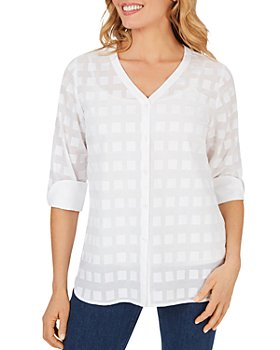 Foxcroft - Asher V-Neck Clipped-Square Cotton Top