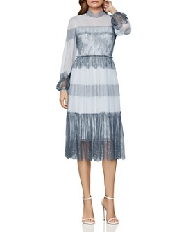 BCBGMAXAZRIA -  Lace-Paneled Tulle Dress
