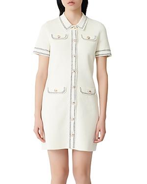 Maje Rosie Contrast-Stitch Knit Dress-Women
