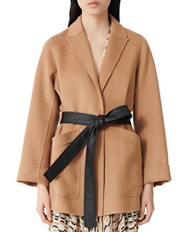 Maje - Gwen Coat with Faux Leather Belt