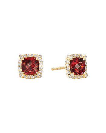 David Yurman - Petite Châtelaine® Pavé Bezel Stud Earrings in 18K Yellow Gold with Garnet and Diamonds