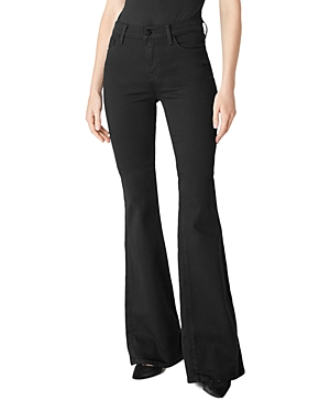 J Brand Valentina High-Rise Flare Jeans in Eco Seriously Black-Women