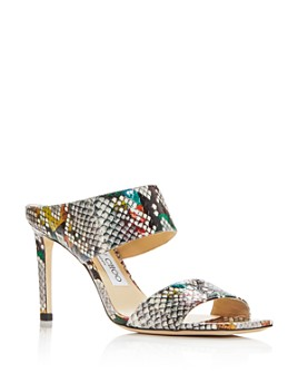 Jimmy Choo - Women's Hira 85 Snake-Embossed High-Heel Sandals