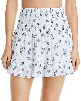 AQUA - Sweet Valley Smocked Mini Skirt Swim Cover-Up - 100% Exclusive