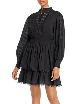 AQUA - Crochet Trim Long-Sleeve Dress - 100% Exclusive