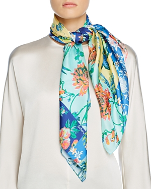 Patchwork Painted Floral Square Scarf
