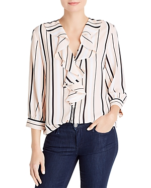 Karl Lagerfeld Paris Striped Ruffled Shirt-Women