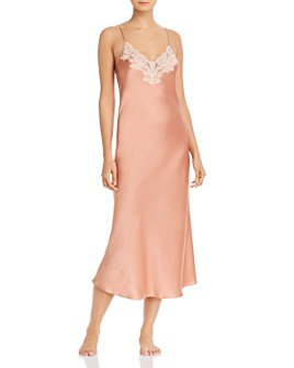 GINIA - Silk Lace-Trim Nightgown