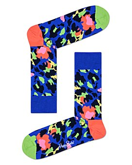 Happy Socks - Color-Blocked Leopard Crew Socks