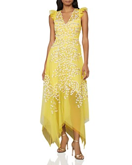 BCBGMAXAZRIA - Floral Appliqué Midi Dress
