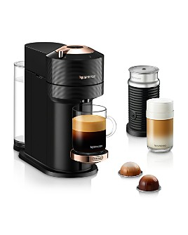 Nespresso - Vertuo Next Premium Coffee and Espresso Maker by DeLonghi with Aeroccino Milk Frother, Black Rose Gold
