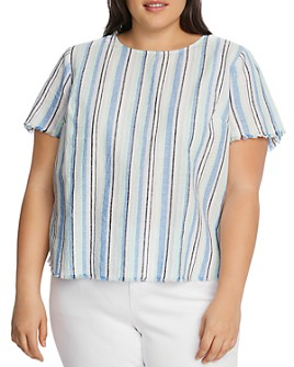 VINCE CAMUTO Plus - Striped Frayed-Edge Top - 100% Exclusive