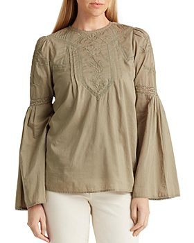 Ralph Lauren - Embroidered Bell-Sleeve Blouse