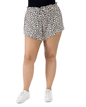 B Collection by Bobeau Curvy - Donna Animal-Print French Terry Shorts