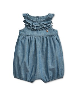 Ralph Lauren - Girls' Chambray One-Piece Shortall - Baby