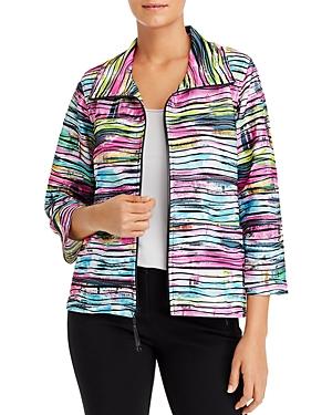 Caroline Rose Tie-Dyed Knit Zip Jacket