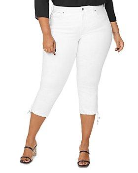 NYDJ Plus - Capri Jeans with Drawcord Hem in Optic White
