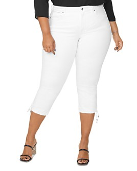 NYDJ Plus - Capri Jeans with Drawcord Hem in Optic White