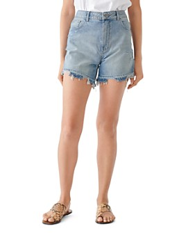 DL1961 - Hepburn Cotton Frayed Denim Shorts in Millie