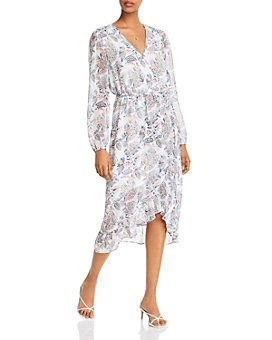 AQUA - Floral-Printed Faux-Wrap Dress - 100% Exclusive