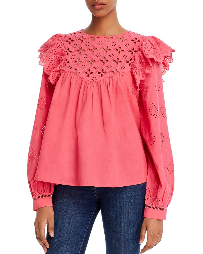 AQUA - Ruffled Eyelet Top - 100% Exclusive
