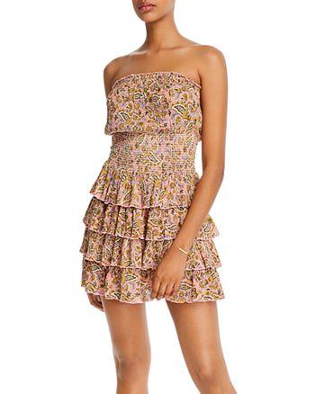 AQUA - Paisley-Print Ruffled Dress - 100% Exclusive