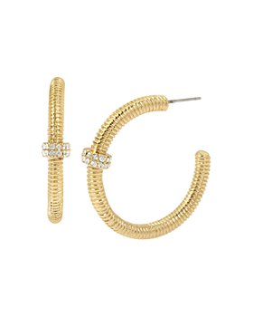 ALLSAINTS - Gold-Tone Pavé Bolt Textured Hoop Earrings