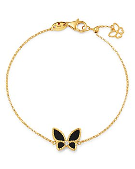Roberto Coin - 18K Yellow Gold Onyx & Diamond Butterfly Chain Bracelet - 100% Exclusive