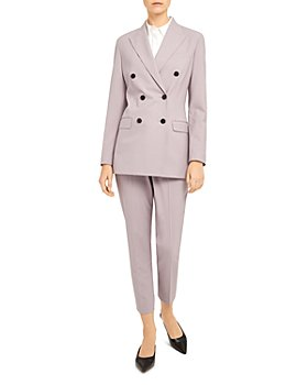 Theory - Double-Breasted Blazer & Treeca Wool-Blend Cropped Pants