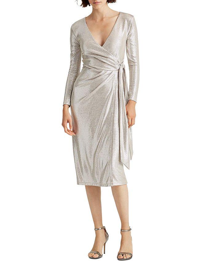 Ralph Lauren - Metallic Faux-Wrap Dress