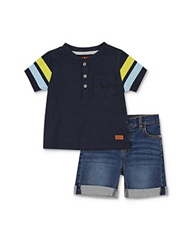 7 For All Mankind - Boys' Henley Tee & Denim Shorts Set - Baby