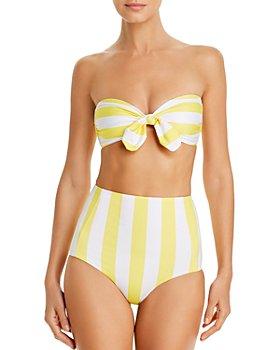 Verdelimon - Malibu Printed Bandeau Bikini Top & Banes Printed High-Waist Bikini Bottom
