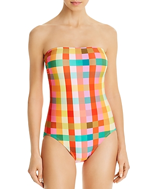 kate spade new york Printed Bandeau One Piece Swimsuit