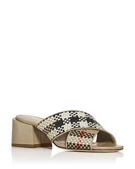Burberry - Women's Castlebar Woven Block-Heel Slide Sandals