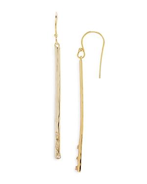 Cubic Zirconia Hammered Bar Drop Earrings