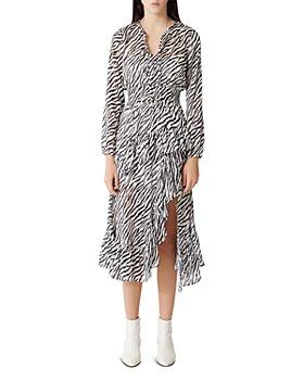 Maje - Ribou Zebra-Print Ruffle Midi Dress