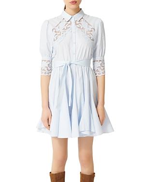 Maje Rebella Lace Trim Shirt Dress-Women