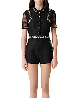 Maje - Ibis Grommet-And-Lace Romper