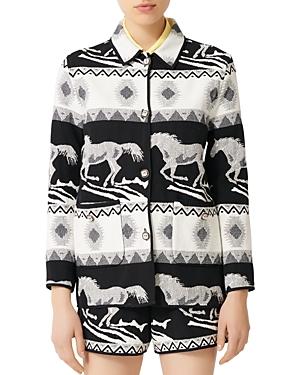 Maje Gapi Horse Print Jacquard Jacket