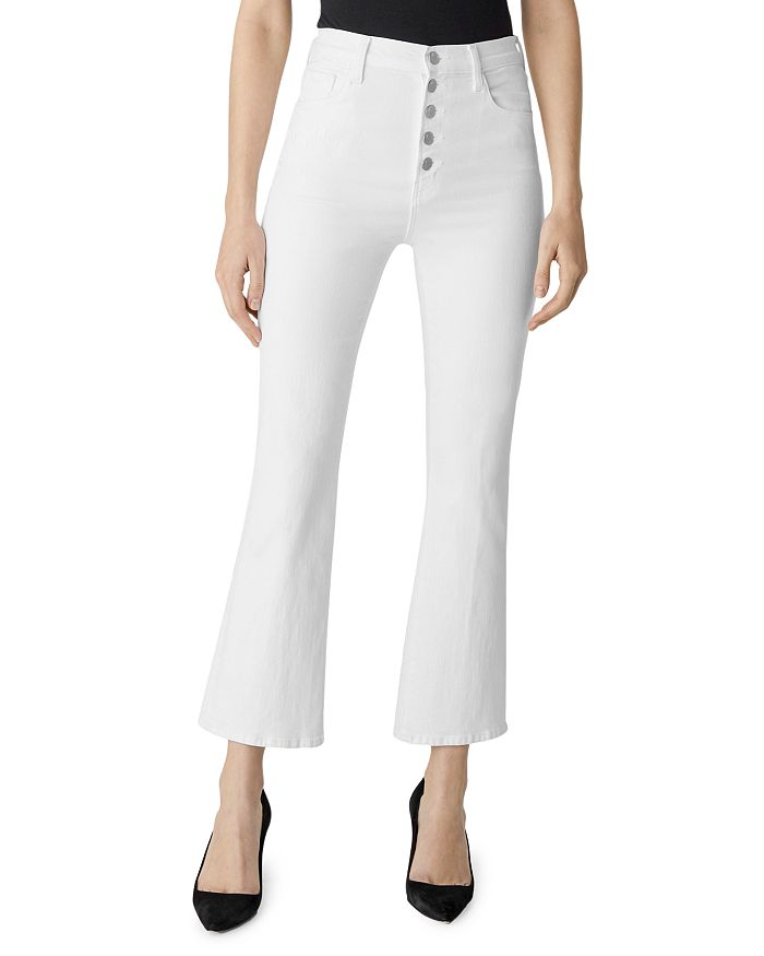 J Brand - Lillie High-Rise Ankle Flare Jeans in Blanc